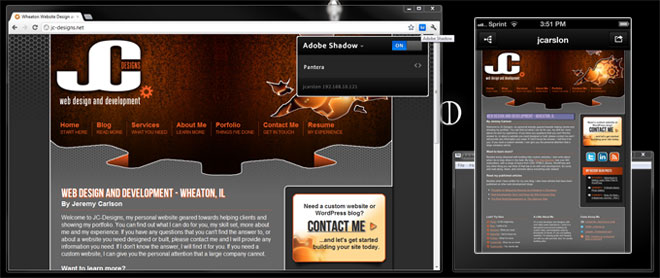 Adobe Shadow in action on jc-designs.net