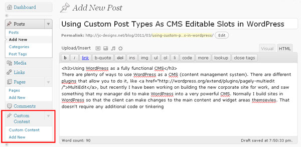WordPress Dashboard showing custom content block added